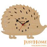 【Just Home】刺蝟造型木製靜音桌鐘(台灣製造)