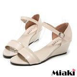 (現貨+預購) 【Miaki】MIT 時尚韓版露趾坡跟楔型涼鞋 (米色)