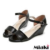 (現貨+預購) 【Miaki】MIT 時尚韓版露趾坡跟楔型涼鞋 (黑色)
