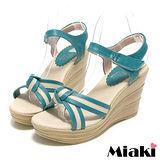 (現貨+預購) 【Miaki】MIT 南洋仲夏條紋露趾坡跟楔型涼鞋 (藍色)