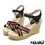 (現貨+預購) 【Miaki】MIT 南洋仲夏條紋露趾坡跟楔型涼鞋 (黑色)