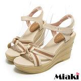 (現貨+預購) 【Miaki】MIT 南洋仲夏條紋露趾坡跟楔型涼鞋 (米色)