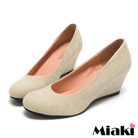 (現貨+預購) 【Miaki】MIT 經典爆款百搭坡跟楔型鞋圓頭包鞋 (米色)