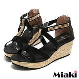 (現貨+預購) 【Miaki】MIT 閃耀韓風厚底露趾T字平底涼鞋 (黑色)