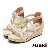 (現貨+預購) 【Miaki】MIT 閃耀韓風厚底露趾T字平底涼鞋 (米色)