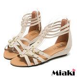 (現貨+預購) 【Miaki】MIT 夏季熱銷雙扣T字露趾涼鞋平底鞋 (米色)