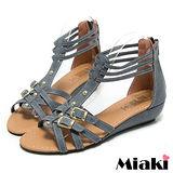 (現貨+預購) 【Miaki】MIT 夏季熱銷雙扣T字露趾涼鞋平底鞋 (藍色)