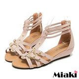 (現貨+預購) 【Miaki】MIT 夏季熱銷雙扣T字露趾涼鞋平底鞋 (粉色)