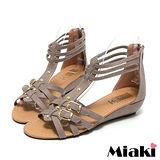 (現貨+預購) 【Miaki】MIT 夏季熱銷雙扣T字露趾涼鞋平底鞋 (咖啡)