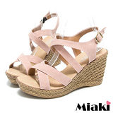 (現貨+預購) 【Miaki】MIT 日雜狂賣簡約素面露趾坡跟楔型涼鞋 (粉色)