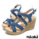 (現貨+預購) 【Miaki】MIT 日雜狂賣簡約素面露趾坡跟楔型涼鞋 (藍色)