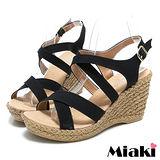 (現貨+預購) 【Miaki】MIT 日雜狂賣簡約素面露趾坡跟楔型涼鞋 (黑色)