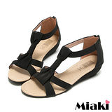 (現貨+預購) 【Miaki】MIT 極簡時尚T字露趾坡跟楔型涼鞋 (黑色)