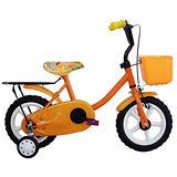 【Adagio】12吋悠遊童車附置物籃(橘)~台灣製造