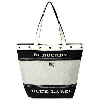 BURBERRY 藍標休閒橫條手提包(小/黑)