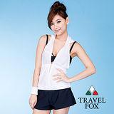 【TravelFox 旅狐】雙色外搭罩衫C8735