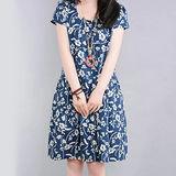 【Maya 名媛】 (中大碼) 薄棉麻夏季花卉連衣裙 洋裝 連衣裙
