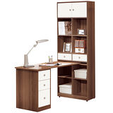 HAPPYHOME 卡洛斯4尺淺胡桃L型書桌357-1