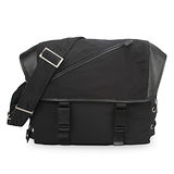 Emporio Armani 新款風格綁帶尼龍拉鍊掀蓋斜背包-黑色