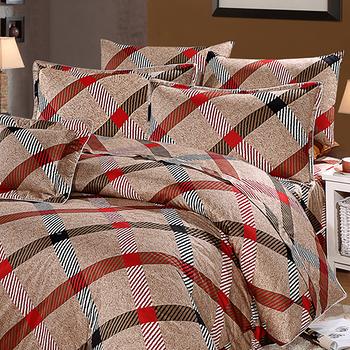 FOCA《100%精梳純棉》MIT雙人六件式兩用被床罩組(紳士咖啡)