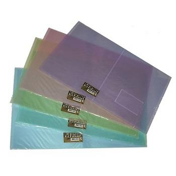 【檔案家】幸運草斜透A4 20入資料簿-小背寬+名片袋 透明紅黃藍綠紫