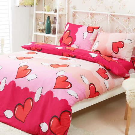 Aileen-天使之戀- 柔絲絨雙人加大四件式被套床包組