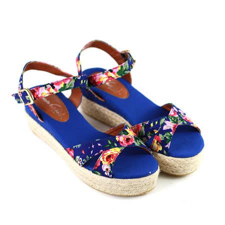 【Pretty】碎花魚口楔型厚底涼鞋-藍色/灰色