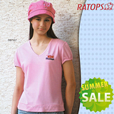 【RATOPS-涼夏熱銷】女款 竹纖維紗V領短袖排汗休閒衫.T恤/ DB7557 淺粉紅
