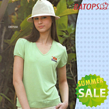【RATOPS-涼夏熱銷】女款 竹纖維紗V領短袖排汗休閒衫.T恤.排汗衣 / DB7558 淺綠