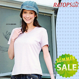 【RATOPS-涼夏熱銷】女款 Coolmax 羅馬布V領短袖排汗休閒衫.T恤.排汗衣/ DB7856 淺粉紫