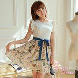 韓版限定【Sweet Dress】收腰碎花裙蕾絲雪紡洋裝