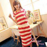 韓版限定【Sweet Dress】紅白條紋連帽洋裝