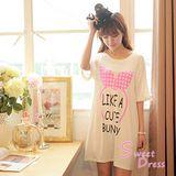 韓版限定【Sweet Dress】蝴蝶結髮箍棉質長版T恤