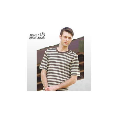 【RATOPS-涼夏熱銷】男款 COOLMAX 粗條紋圓領T恤.吸濕排汗衣/ DB-8157