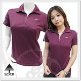 【SPAR-涼夏熱銷】女款 短袖拉鍊V領衫.吸濕.排汗衣/紫1030313 B