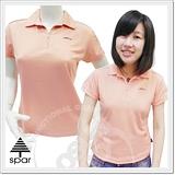 【SPAR-涼夏熱銷】女款 短袖拉鍊V領衫.吸濕.排汗衣/粉橘 1030305 B