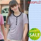 【RATOPS-消暑對策】女款 Coolmax FX 細條紋短袖圓領T恤.排汗衫.休閒衫.排汗衣/ DB7675 巧克力色