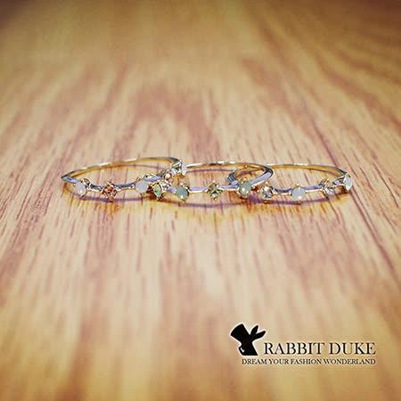 【Rabbit Duke】經典歐美風格 個性彩鑽蛋白石排列設計戒指