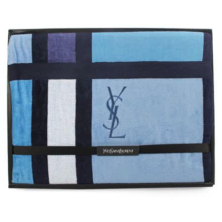 YSL 刺繡LOGO拼色雙面純綿毛巾蓋毯-水藍