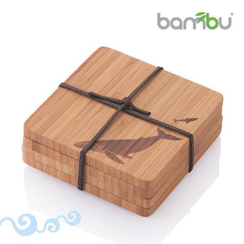 ~Bambu~童趣圖紋竹杯墊~小鯨魚 4塊組
