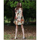 【Maya 名媛】(S~2XL) 杏白色  自然風格棉麻系列 半包袖立體圓型連衣裙 東方風格大朵印花