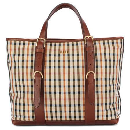 DAKS 經典格紋素面布紋手提包-咖啡色