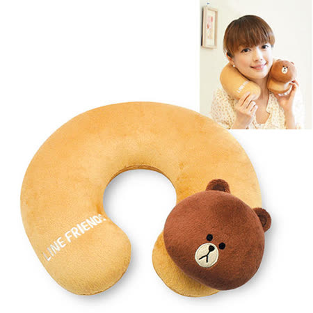 【LINE FRIENDS】絨毛U型護雙 和 百貨頸枕(BROWN熊大) (台灣製)