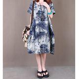 【Maya 名媛】(M~XL) 圖片色 抽象東方風格 淺層染 棉麻圓領短袖連衣裙/洋裝