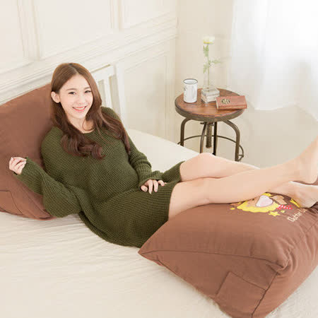 【奶油獅】正版授權-100%台灣製造 加厚精緻貼布鏽 彩虹牛仔布套可拆三角靠墊/美腿枕(二入)