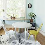 (時尚風情) 2.5尺白色圓型餐桌椅組 (一桌四椅/V型餐椅)