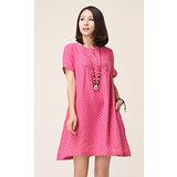 【Maya 名媛】(S~XL)玫粉色 棉麻料 小方塊混色織布料 高腰連衣洋裝