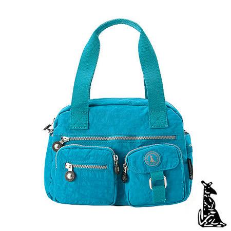 冰山袋鼠 - 樂活系多功能型雙口袋式保齡球包-湖水藍