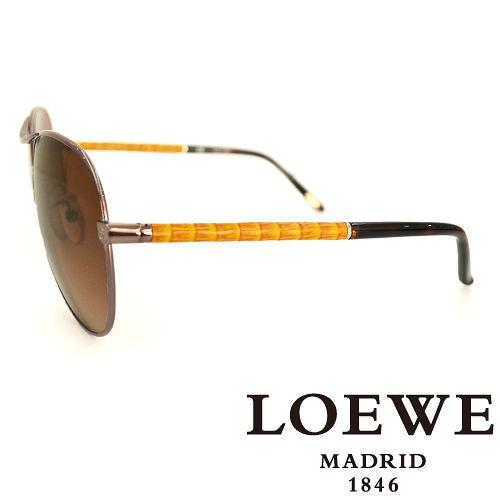 LOEWE 西班牙皇室品牌羅威 皮革木紋太陽眼鏡^(黃色^) SLW380~0K01