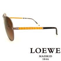 LOEWE 西班牙皇室品牌羅威經典皮革木紋太陽眼鏡(黃色) SLW380-0K01